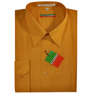 New men's shirt dress formal long sleeve prom party pointed collar mustard