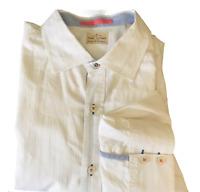 Tommy Bahama Jeans White on White Stripe Long Sleeve Button Shirt Orange Trim XL