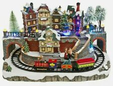 LED large lumineo christmas Village Ornament With Moving Train Scene New