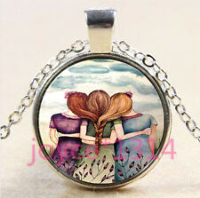 Best Three Sisters Cabochon Tibetan silver Glass Chain Pendant Necklace #4416
