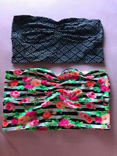 Victoria's Secret Bandeau X2 PINK L Black White Pink Orange Roses Stripes NWT