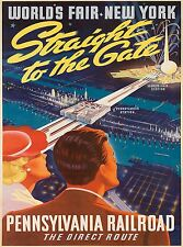 1939 New York City World's Fair Rail United States Travel Advertisement Poster