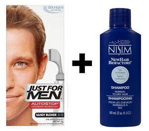 Just For Men AutoStop Mens Hair Colouring Sandy Blonde A10 = Nisim Shampoo 60ml