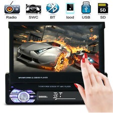 "Car Single DIN Stereo MP5 MP3 Player 7"" Flip Up Bluetooth Touch AM FM Radio USB"