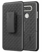 LG V20 Belt Clip Holster Combo Cell Phone Case With Kick Stand Cover Black