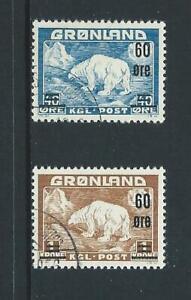 1956 GREENLAND Surcharge Set (Scott 39-40) Used