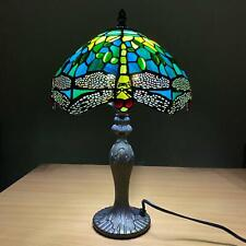 Tiffany Green Dragonfly Style 10'' Table Desk Lamp Hand Crafted Stained Glass UK