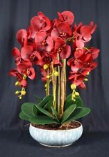 Large Artificial Phalaenopsis Orchid Plants with Porcelain Pot [Dark-Red]