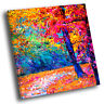 Colourful Autumn Trees Retro Square Scenic Canvas Wall Art Large Picture Print