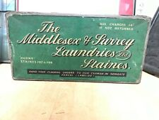 🧺 THE MIDDLESEX & SURREY LAUNDRIES LTD of STAINES Vintage / Antique Laundry Box