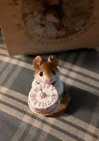Wee Forest Folk HAPPY BIRTHDAY Boy Mouse w/ Cake WFF figure M-83 Retired in 1997