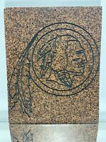 Carved Stone Native American Indian Chief Head Sculpture Wall Art