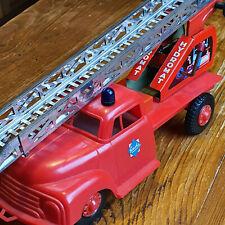 Altes Spielzeugauto Opel Blitz GESCHA Feuerwehrdrehleiter Blech + Plastik 1960er
