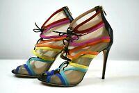 """Salvatore Ferragamo Women's Size 7 Sheer Mesh Top 4"""" High Heel Shoes"""