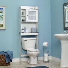 Over Toilet Bath Cabinet Shelving Soft White Unit Spacesaver Condo Apartment
