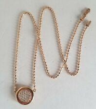 14kt Rose Gold & Diamond Hypnotic Spiral Sun Plumber's Chain Pendant Necklace