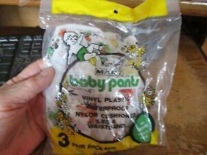 3 VINTAGE  BABY VINYL PLASTIC PANTS DISNEY MURPYY'S MART SIZE MED  NEVER OPEN