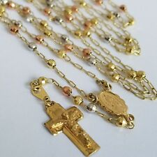 "14k Yellow Gold Rosary Beads virgin Mary crucifix Jesus Cross 3 mm 26"" Necklace"