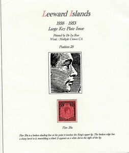 LEEWARDS ISLANDS SG 114 SCOTT 115  POUND VALUE WITH 28a FLAW VERY FINE