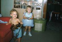 Vintage 1950s Red Border Kodachrome 35mm Slide Little Kids Playing Candid Shot