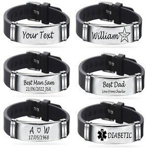 Engraved Personalised medical Mens silicone Bracelet ID Birthday Christmas Gift