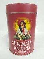 """1993 Vintage Collectible SUN-MAID Raisins Tin With Raisin Pie Recipe On Back 5"""""""