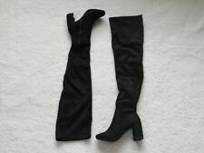 Women's Over the Knee Boots Black Suede Heel Tall Zipper New Without Box US 5.5