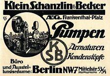 Klein-Schanzlin & Becker A.G. Frankenthal PUMPEN  Historische Annonce 1918