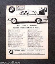 O451 - Advertising Pubblicità -1963- BMW , ELENCO CONCESSIONARI IN ITALIA.