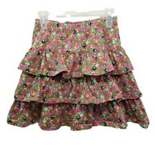 Hanna Andersson 140 Girls Skirt Pink Green Paisley Tiered Size 10 Cotton