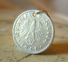 Vintage Pocket Watch Chain Fob WW2 1941 German Reich 50 Pfennig Coin With Eagle