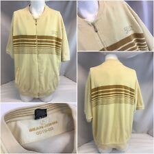 Sean John Jacket Shirt XXL Beige Terry Cloth Full Zip SS Made Turkey YGI K8-349