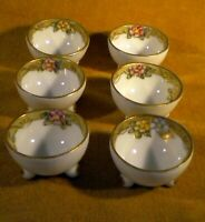 SIX (6) ANTIQUE NIPPON JAPAN CHINA PORCELAIN FOOTED SALT CELLARS DIPS
