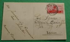 ITALIA 1934 ,1° CENTENARIO MEDAGLIE CENT 20, SU CARTOLINA  VIAGGIATA