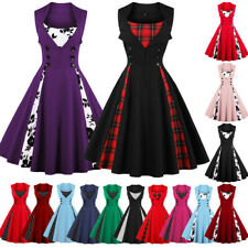 Womens Vintage Style 50s 60s Rockabilly Evening Party Swing Dress Plus Size 8-24