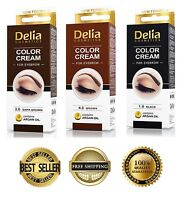 DELIA Henna Color Cream Eyebrows tint with Argan Oil - Dark Brown, Brown, Black
