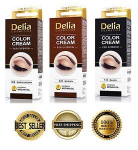 DELIA Henna Color Cream Eyebrows tint with Argan Oil - Dark Brown, Brown, Black