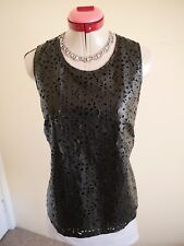 SPICYSUGAR Black Cut-Out TOP Size 14 BNWT NEW Lined Lace-Look Pleather S/Less