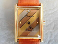 MORTIMA MONTRE BRACELET CUIR MARRON RECTANGLE TANK QUARTZ FEMME VINTAGE  WATCH