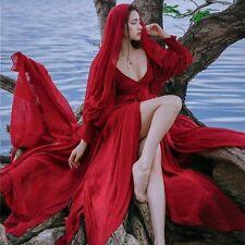 Elegant Vintage Mori Girl Sweet Lolita Palace V-Neck Princess Fairy Red Dress