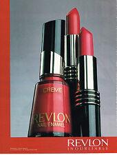 PUBLICITE ADVERTISING 025  1990  REVLON  coll   rouge à lèvres vernis à ongles