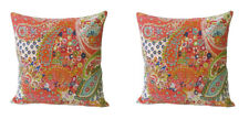 Indian Cushion Pillow Cotton Cover Home Decorative Kantha Work Handmade Set of 2