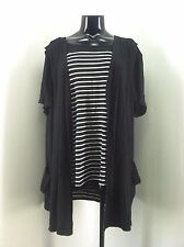 Antthony Original Black and Striped 2 Piece Top and Vest Size 2X