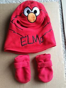 1-2-3 Sesame Street Elmo Winter Hat Gloves Mittens Set -Read Auction