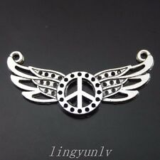 30 Pieces Vintage Silver Alloy Peace Symbol Wing Charms Pendants 37x18mm 50072