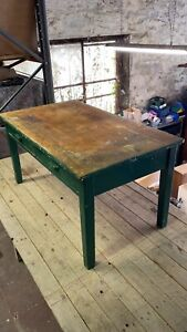 Old School Table Desk Solid Painted Pine, Heavy