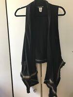 Small Double Zero Black Western Boho Vest Black Sleeveless Top Layer Shirt Flowy