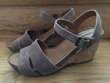 Clarks Suede Wedge Sandals, pre-owned, UK size 4.5