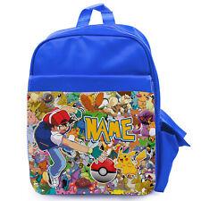 Mochila Escolar Bolsa Personalizado Pokemon Niños Niños Childrens Vivero Azul PK02