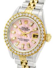 Rolex Lady Datejust PInk MOP Diamond Dial Diamond Bezel 26mm -QUICKSET